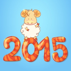 Winter chinese new year card with cartoon sheep